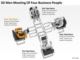3D Men Meeting Of Four Business People Ppt Graphics Icons