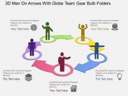 3d Men On Arrows With Globe Team Gear Bulb Folders Flat Powerpoint Design