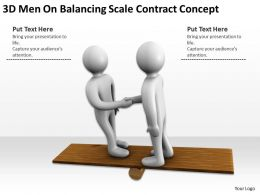 3D Men On Balancing Scale Contract Concept Ppt Graphics Icons Powerpoint