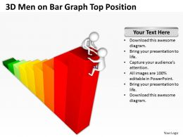 3D Men On Bar Graph Top Position Ppt Graphics Icons Powerpoint