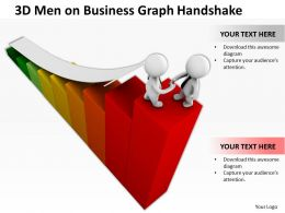 3D Men On Business Graph Handshake Ppt Graphics Icons Powerpoint
