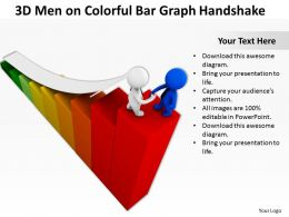 3D Men On Colorful Bar Graph Handshake Ppt Graphics Icons Powerpoint