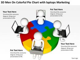 3d_men_on_colorful_pie_chart_with_laptops_marketing_ppt_graphics_icons_Slide01