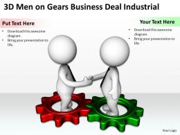 3D Men On Gears Business Deal Industrial Ppt Graphics Icons Powerpoint