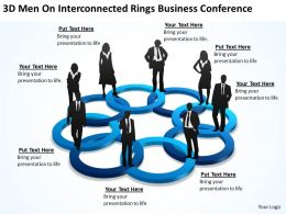 3D Men On Interconnected Rings Business Conference Ppt Powerpoint Slides