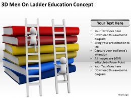 3D Men On Ladder Education Concept Ppt Graphics Icons Powerpoint