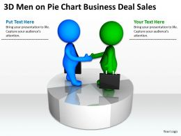 3D Men On Pie Chart Business Deal Sales Ppt Graphics Icons Powerpoint