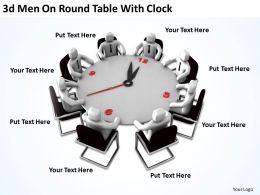 3D Men On Round Table With Clock Ppt Graphics Icons