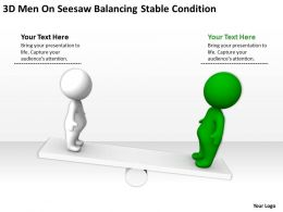 3D men On Seesaw balancing Stable condition Ppt Graphics Icons