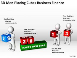 3D Men Placing Cubes Business Finance Ppt Graphic Icon