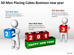 3D Men Placing Cubes Business new year Ppt Graphic Icon