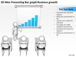 3D Men Presenting Bar graph Business growth Ppt Graphic Icon