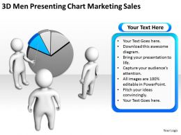 3D Men Presenting Chart Marketing Sales Ppt Graphic Icon