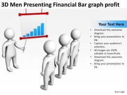 3D Men Presenting Financial Bar graph profit Ppt Graphic Icon