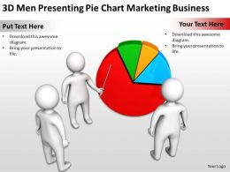 3D Men Presenting Pie Chart Marketing Business Ppt Graphic Icon
