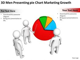 3D Men Presenting pie Chart Marketing Growth Ppt Graphic Icon