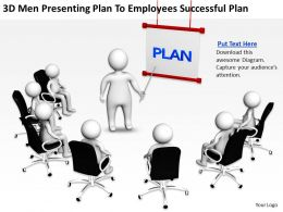 3D men presenting plan to employees successful plan Ppt Graphics Icons