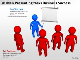 3D Men Presenting tasks Business Success Ppt Graphic Icon