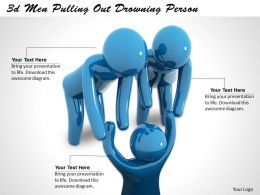 3d Men Pulling Out Drowning Person Ppt Graphics Icons Powerpoint
