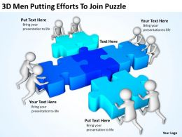 3D Men Putting Efforts To Join Puzzle Ppt Graphics Icons Powerpoint