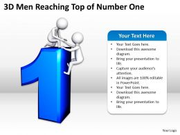 3D Men Reaching Top of Number One Ppt Graphics Icons Powerpoint