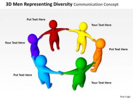 3D Men Representing Diversity Communication Ppt Graphics Icons