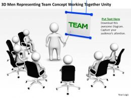 3D Men Representing Team Concept Working Together Unity Ppt Graphics Icons