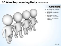 3D Men Representing Unity Teamwork Ppt Graphics Icons