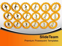 3d Men Running In Gears Mechanisml PowerPoint Templates PPT Themes And Graphics 0313