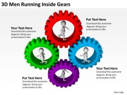3D Men Running Inside Gears Ppt Graphics Icons Powerpoint