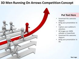 3D Men Running On Arrows Competition Concept Ppt Graphic Icon
