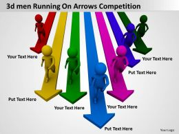 3d men Running On Arrows Competition Ppt Graphic Icon