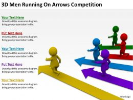 3D Men Running On Arrows Competition Ppt Graphics Icons Powerpoint