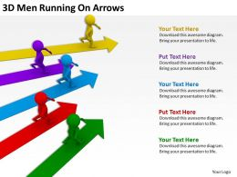 3D Men Running On Arrows Ppt Graphics Icons Powerpoint