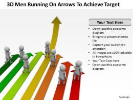 3D Men Running On Arrows To Achieve Target Ppt Graphics Icons Powerpoint
