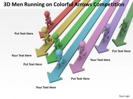 3d Men Running on Colorful Arrows Competition Ppt Graphics Icons Powerpoint