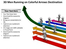 3d Men Running on Colorful Arrows Destination Ppt Graphics Icons Powerpoint