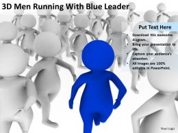 3D Men Running With Blue Leader Ppt Graphics Icons Powerpoint