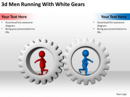 3D Men Running With White Gears Ppt Graphics Icons