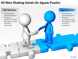 3D Men Shaking Hands On Jigsaw Puzzles Ppt Graphics Icons Powerpoint
