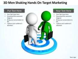3D Men Shaking Hands On Target Marketing Ppt Graphics Icons Powerpoint