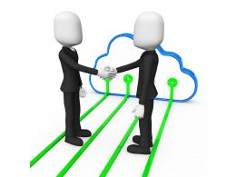3D Men Shaking Hands Over Cloud Computing Concept Stock Photo