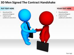 3D Men Signed The Contract Handshake Ppt Graphics Icons Powerpoint