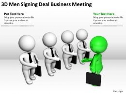 3D Men Signing Deal Business Meeting Ppt Graphics Icons Powerpoint