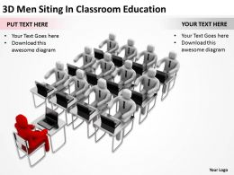 3D Men Siiting In Classroom Education Ppt Graphics Icons Powerpoint