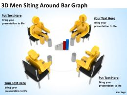 3D Men Siting Around Bar Graph Ppt Graphics Icons Powerpoint