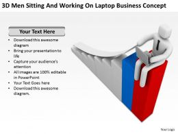 3D Men Sitting And Working On Laptop Business Concept Ppt Graphics Icons Powerpoint