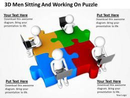 3D Men Sitting And Working On Puzzle Ppt Graphics Icons Powerpoint