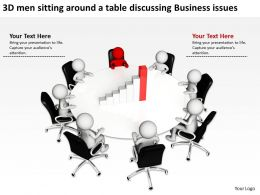 3D men sitting around a table discussing Business issues Ppt Graphic Icon
