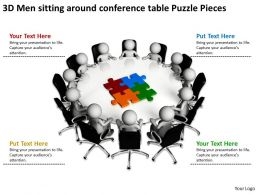 3D Men sitting around conference table Puzzle Pieces Ppt Graphic Icon